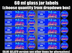 BLUE GELATO 60ml glass cali jar labels RX pressitin HIGH QUALITY